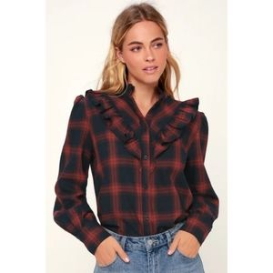 The Fifth Label Plaid Ruffled Button Down Shirt